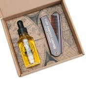 Captain Fawcett Beard Oil & Folding Pocket Beard Comb - Подарочный набор для бороды